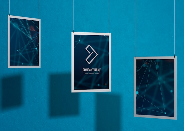 Set of business corporate identity mock-up with frame Free Psd