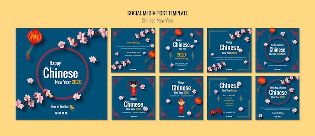 Set of chinese new year post for social media Free Psd
