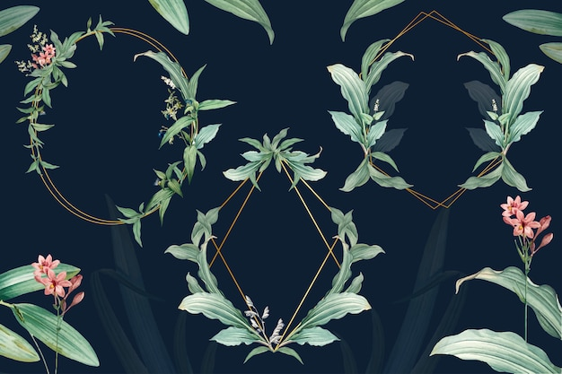 Set of empty frames with green leaves design Free Psd