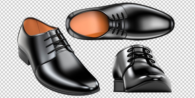 Set of a fashion elegant black men's shoes Premium Psd