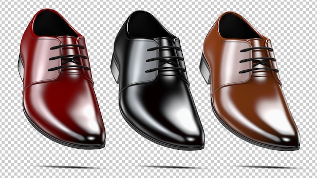 Set of a fashion elegant black red and brown men's shoes Premium Psd