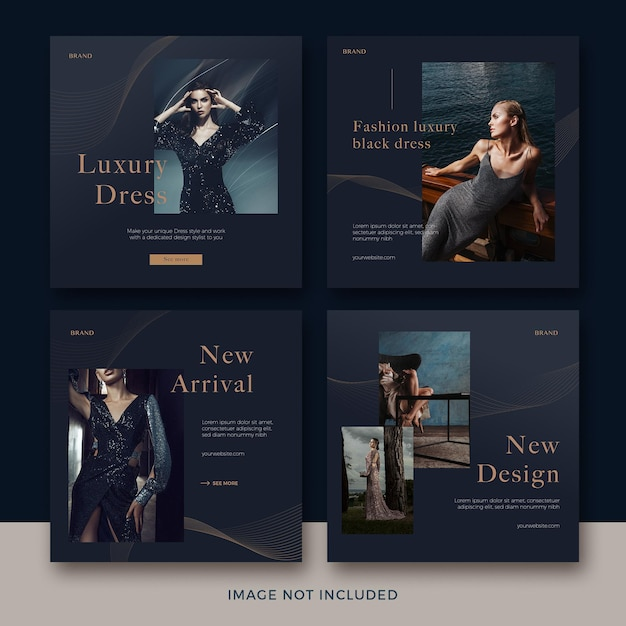 Set of fashion square banner template with abstract wave premium psd Premium Psd