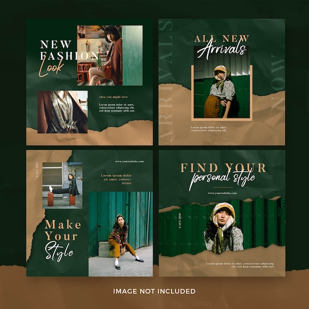 Set of fashion square banner template with torn paper effect. new arrivals Premium Psd
