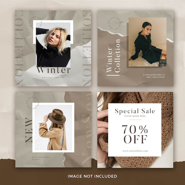 Set of fashion square banner template with torn paper effect Premium Psd