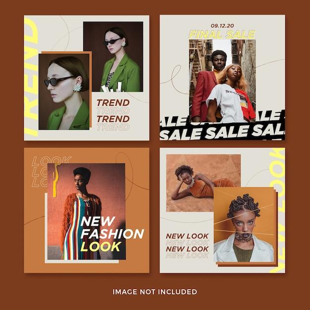 Set di modello di banner quadrato di moda Psd Gratuite