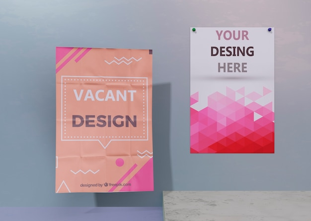 Set of flyer and poster business corporate identity mock-up Free Psd