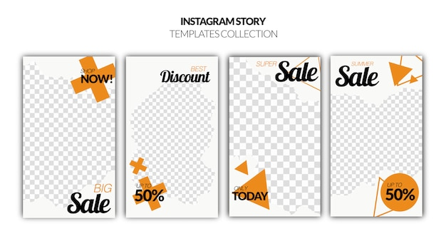 Set of instagram stories sale banner Free Psd