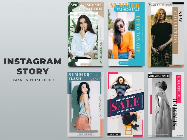 Set of instagram stories template for digital marketing Premium Psd