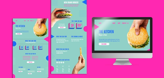 Set of kitchen menu with american food Free Psd