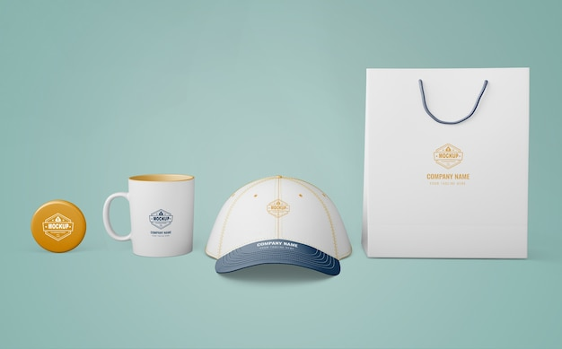 Set of merchandising products with company logo Free Psd