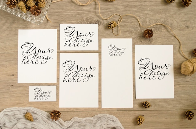 Set of mockups in warm brown tones with pine cones, runner on a wooden Premium Psd