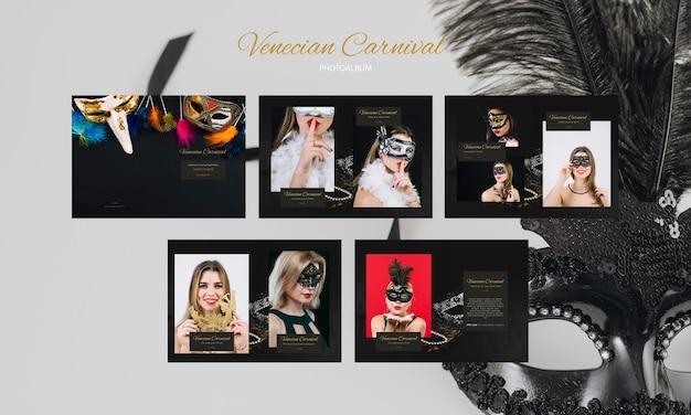 Set of models wearing masks for social media Free Psd