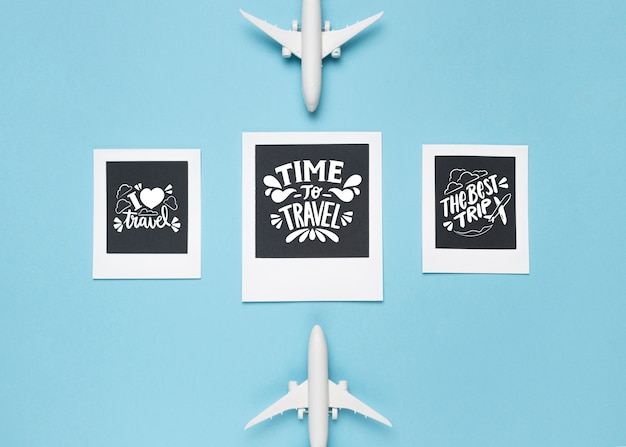 Set of motivational lettering quotes for holidays traveling concept Free Psd