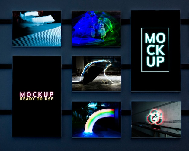 Set of artistic neon lights mockup Free Psd