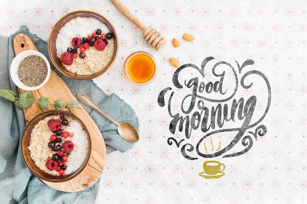 Набор завтрак гранола чаши Бесплатные Psd