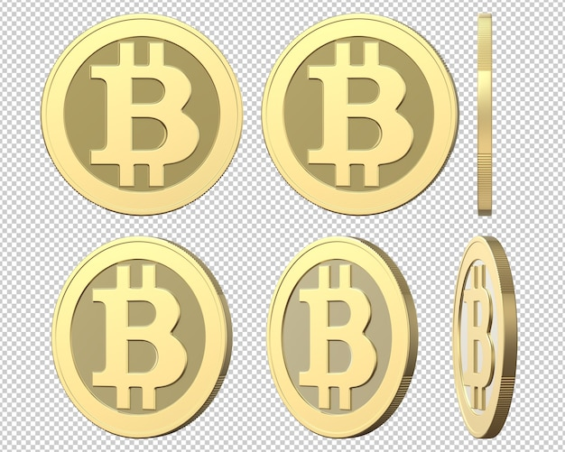 Набор золотых монет со знаком bitcoin Premium Psd