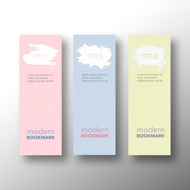 モダンなブックマーク、黄色ピンクと青のセット 無料 Psd
