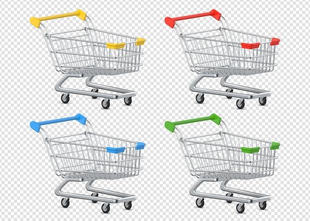 Набор разноцветных тележек для покупок Premium Psd
