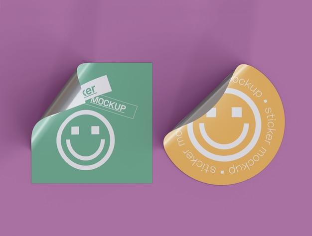 두 개의 접착 스티커 이랑 세트 프리미엄 PSD 파일