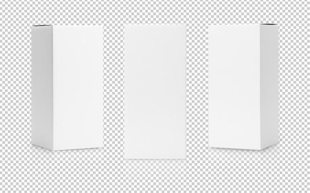 側面図と正面図モックアップテンプレートのホワイトボックスの背の高い形状の製品パッケージのセット Premium Psd
