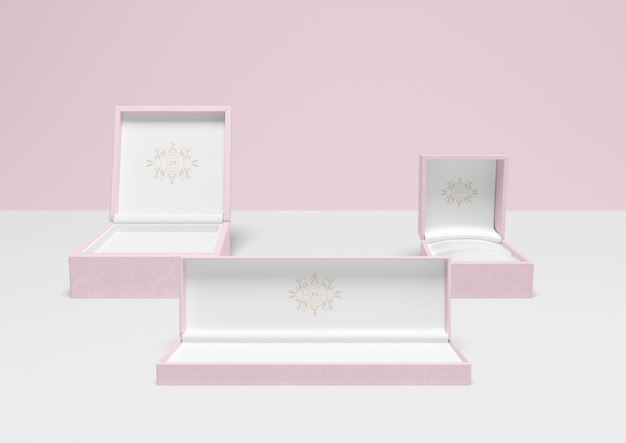 Set of open pink jewellery boxes Free Psd