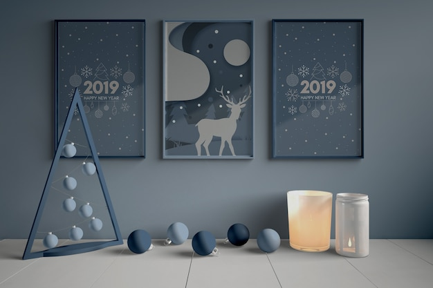 Set of paintings on wall for christmas Free Psd