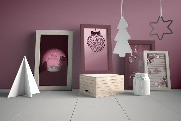 Set of paintings on wall with christmas concept Free Psd