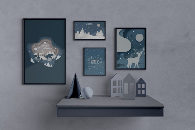 Set of paintings with christmas theme Free Psd