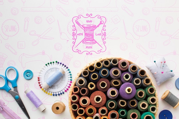 Set of sewing threads mock-up Free Psd