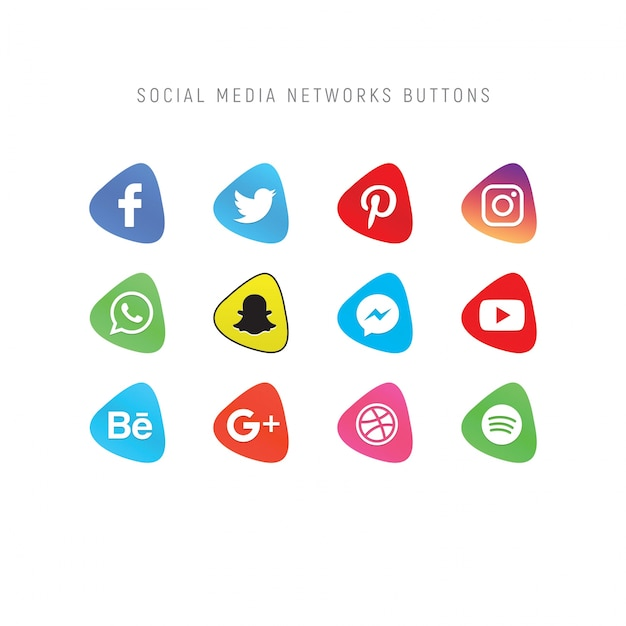 Set of social media network buttons Premium Psd