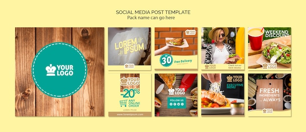 Set of social media posts template with delicious food offers Free Psd