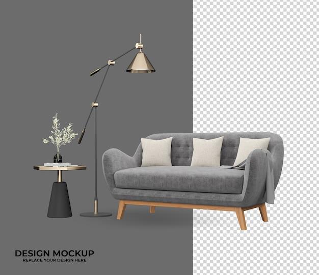 Set sofa in rendering with luxury interior design Premium Psd