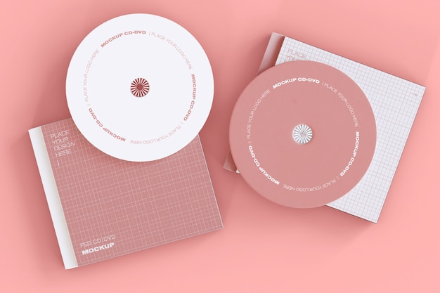 Set of two cd discs mockup Free Psd
