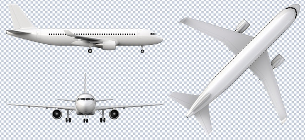 Set of white airplanes in different views Premium Psd