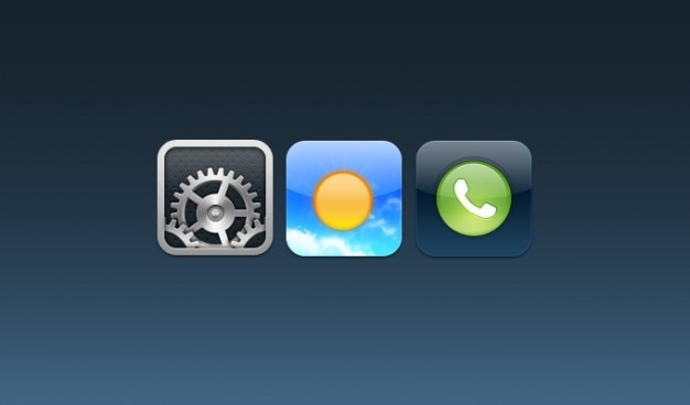 Settings, weather, phone ios icons Free Psd