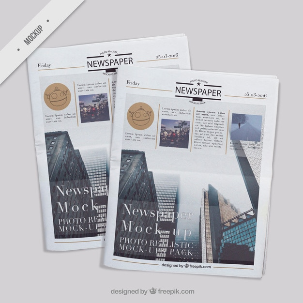 Several realistic newspaper mockups Free Psd