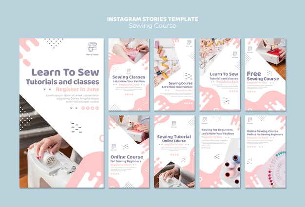 Шаблон истории шитья в instagram Бесплатные Psd