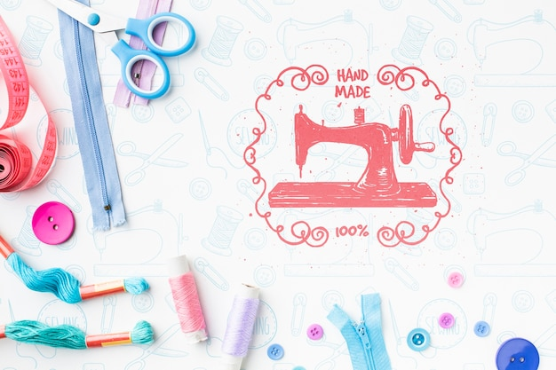 Sewing machine mock-up with zippers Free Psd