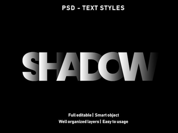 Shadow text effect style Premium Psd
