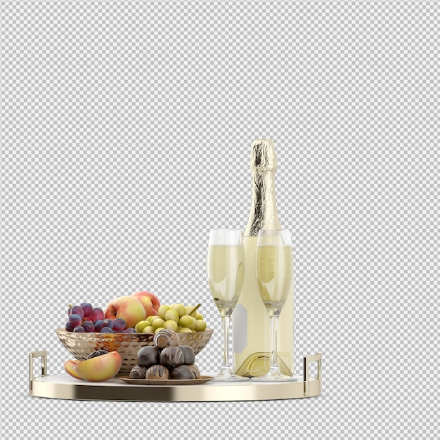 Shampange with fruits and candy Premium Psd