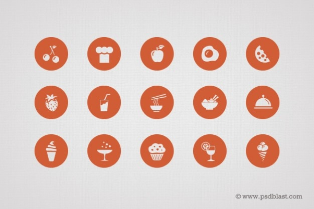 Shape food icons in PSD Free Psd