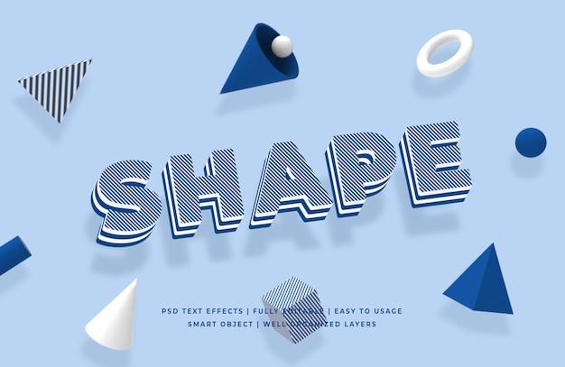 Shape geometric shape 3d text style effect mockup Premium Psd