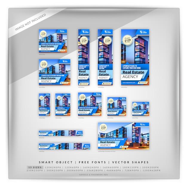 Sharp blue real estate google & facebook ads Premium Psd