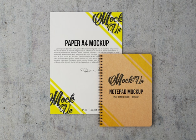 Sheet of paper and notebook mockup Premium Psd