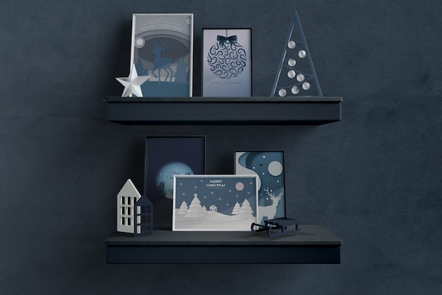 Shelfs with thematic frames for christmas Free Psd