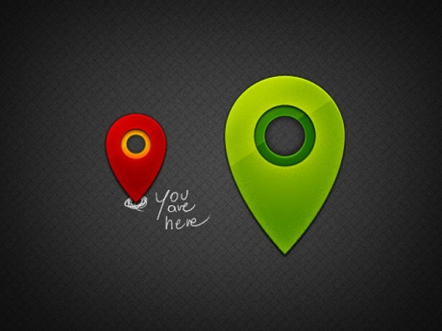 shiny little map pins Free Psd