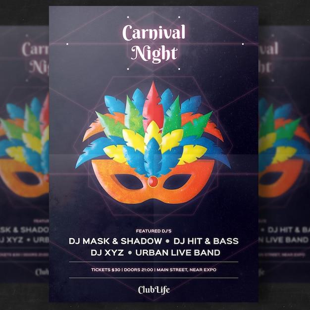 Shiny modern carnival poster mockup Premium Psd