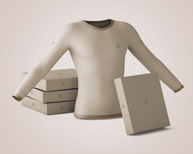 Shirt and box mockup Free Psd