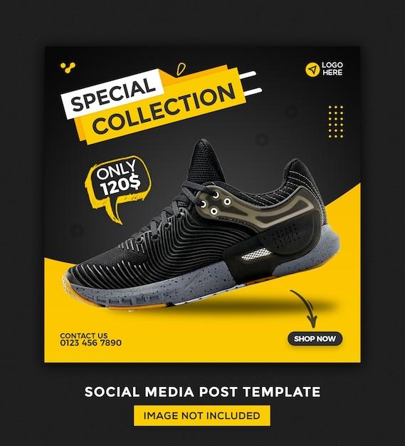 신발 소셜 미디어 배너 및 Instagram 게시물 템플릿 디자인 프리미엄 PSD 파일