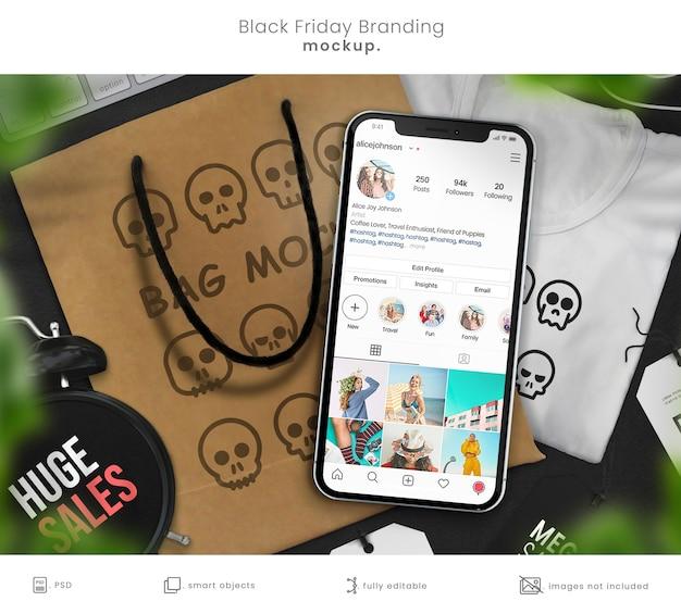 티셔츠, 쇼핑백 및 스마트 폰으로 브랜딩 모형 쇼핑 프리미엄 PSD 파일